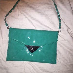 Cache Patented Leather Aqua Teal Clutch Bag